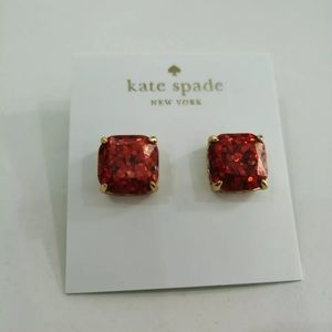 Kate Spade Red New York Glitter Square Studs